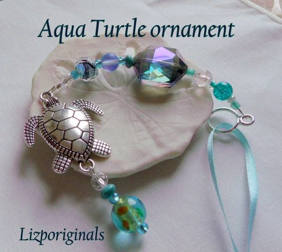 Aqua turtle sun catcher - sea turtle ornaments - Turquoise-  southwestern home  - silver turtle charm gift  - garden decor - aquarium