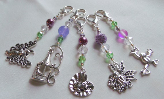 Fairy zipper pull - frog - bird cage - butterfly bag charms - cosmetic bag clips - nature - pixie clips for back packs - journal charms