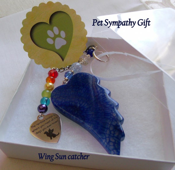 Pet loss gift - deep blue agate wing - kitchen / window decor -  personalize pet loss gift  -  angel wing ornament - Dog memory gift