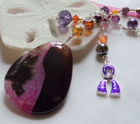 Alzheimers support gift  - gemstone pendant - purple ribbon - awareness - Alzheimer memento -  agate Sun catcher - for the cure - ornament