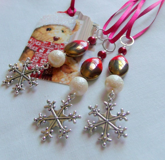 Red metallic gold Christmas ornament set - 3 snowflake charms - winter home decorations - cottage home - stocking stuffers - holiday gift