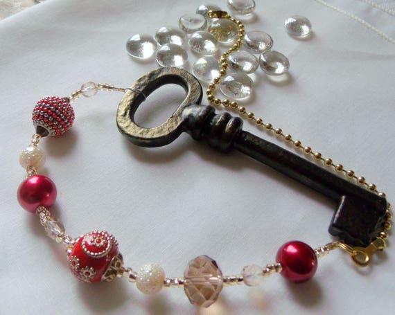 Ceiling Fan pull - skeleton key charm - beaded lamp pull - red glitz beads - light chain pull - gilded key - Victorian - ceiling fan chain