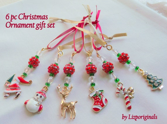 Set of 6 Christmas charm ornaments - reindeer - candy cane - stocking - snowman charm - crystal tree hangers - miniature berry gift - Santa