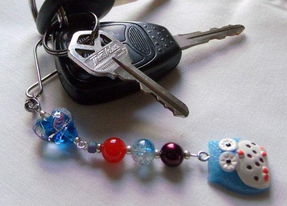 Owl charm key chain - aqua bird key ring - blue Back pack charm - Aqua resin owl - heart gift for kids - whimsical owl gift - Lizporiginals
