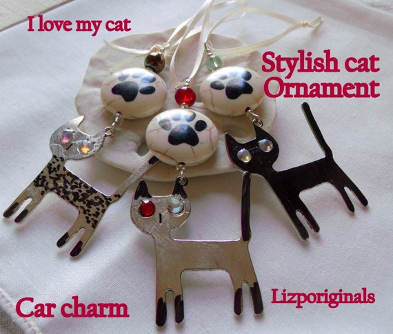 Stylish cat ornaments - the glitz cat charm - cat paw - black cat tree decorations - tiger cat - Car charm - I love cats Gift - Metallic cat