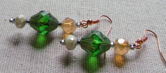 Deep green crystal earrings - etched princess style  - spring - St Patricks day gift - copper ear wire - green for Hope - Lizporiginals
