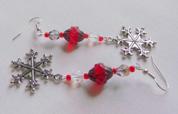 Christmas holiday earrings - winter jewelry - snowman charm earrings - glitz ball earrings - snowflake charms - red crystal earrings - gift
