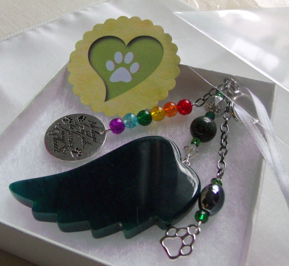 Pet loss gift - green angel wing - agate pendant - Pet Sympathy gift - memento - Dog loss - memorial - cherish your dog - for cremation box