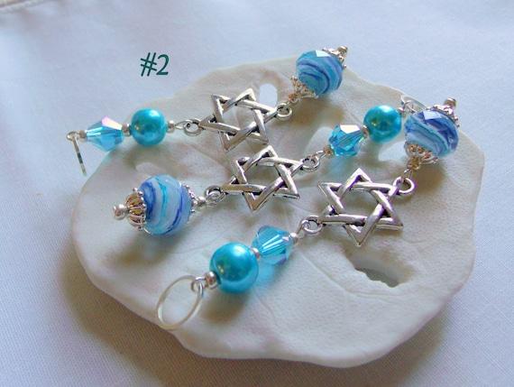 Hanukkah ornaments - small gift set - aqua crystals - hanging home decor - star of David - set of 3 - Hostess Seder gift - Lizporiginals