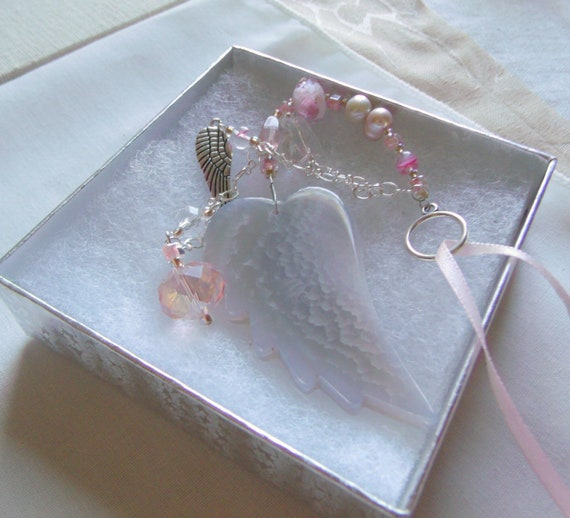 Loss of child gift - funeral memento - custom sympathy gift - car angel wing charm - pink grave decoration - cremation box - loss of girl