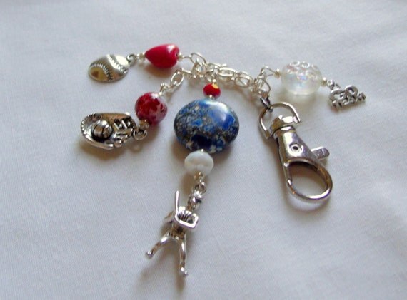 Custom Baseball key clip - Boston team - team gift - bag/car charm - baseball mom ornament - gift for coach - red blue baseball player