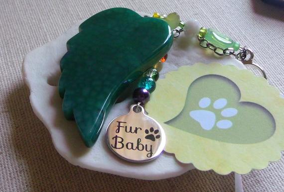 Pet loss gift - green agate wing - gemstone memento - Angel wing ornament - Personalize - fur baby charm - rainbow bridge - Lizporiginals