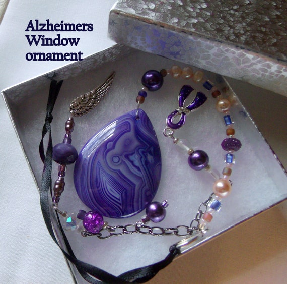 Alzheimer' s support gift - gemstone pendant - purple ribbon - awareness - Alzheimer memento - agate Sun catcher - for the cure - ornament
