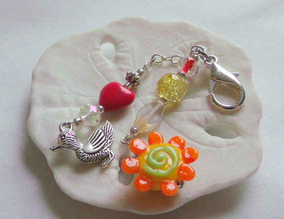 Easter gift for kids - spring gift - zipper pull for bags - backpack charms - here come ducklings - duck tour gift - bright flower clip set