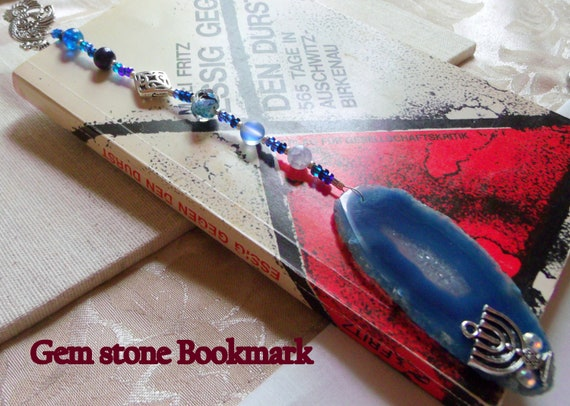 11 inch long silver Peacock  bookmark - Judaic charm - Menorah  - Jewish gift - blue agate geode slice - Bird design - beaded gemstone gift