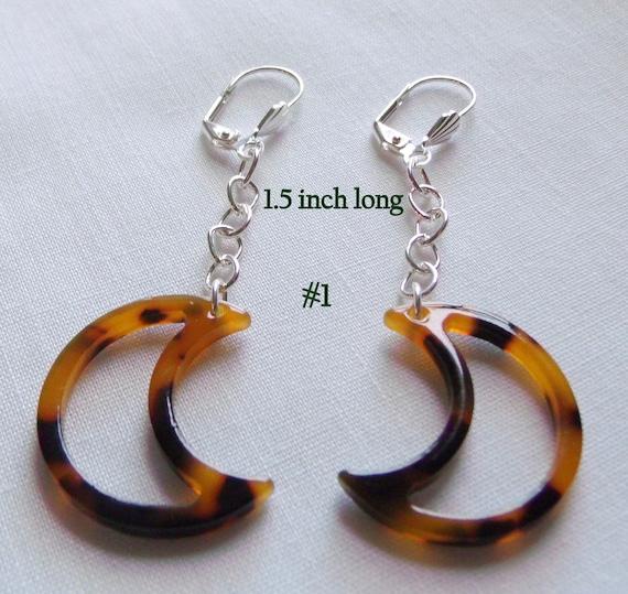 Tortoise  moon earrings - openwork celestial dark brown moon - teardrop earrings - lightweight materials - natural look - timeless earrings