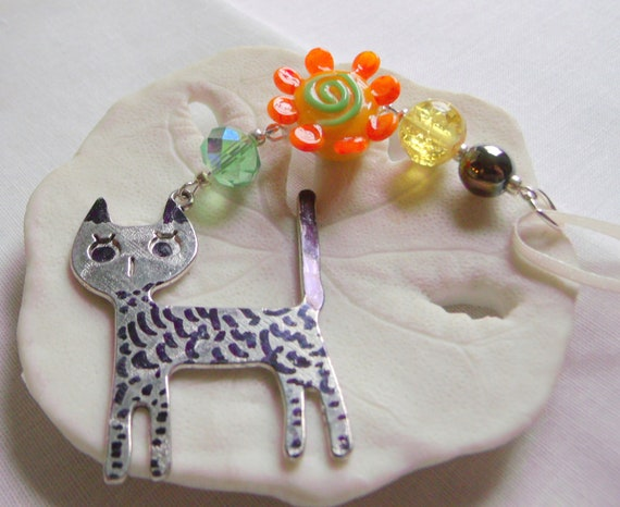 Large Cat charm ornament - cat mom gift - rear view mirror charm - Car accessory - I love my cat - orange flower - Birthday - pet decoration