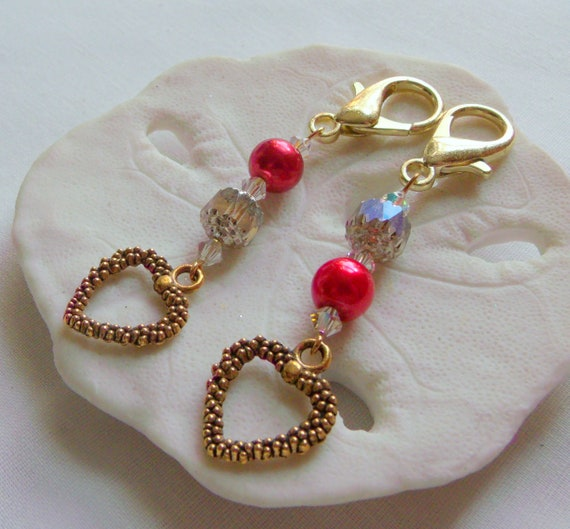 Gold heart zipper pull - journal charm - stitch marker - knitting gift - gift of love - valentines - shower favors - red heart bag charm