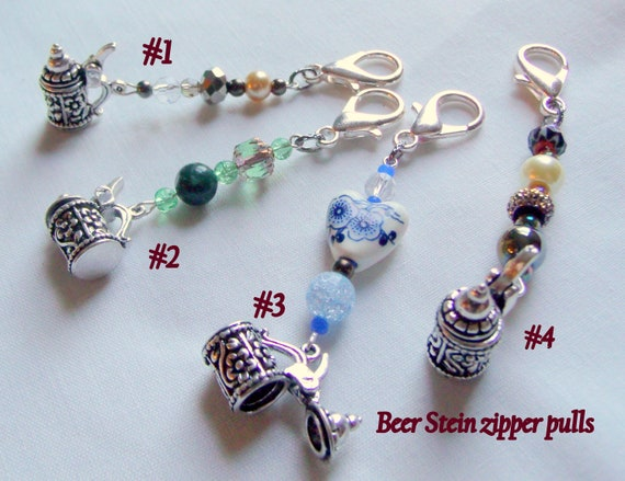 Beer tasting gift - stein zipper pull - October fest trinket - backpack clip -  Bavarian vacation gift -  Austrian - club gift - I love Beer