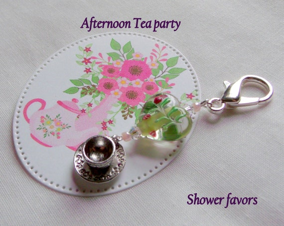 Tea cup party favors - garden gifts -  - English High tea - for wedding guests - flower heart - Spring - tea cup charms - shower favors