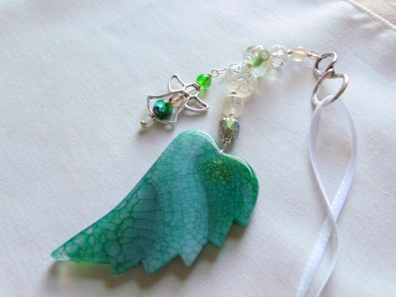 Memory grief Gift - Custom Sympathy memento - Angel wing ornament - Loss of special friend - memorial charm - funeral gift - remember me