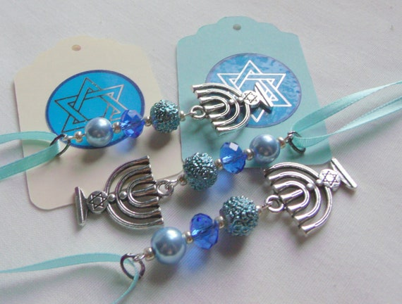 Hanukkah crystal ornaments - holiday gift - blue teal beads - home decor - set of 3 menorah charms - party favors - Hostess gift