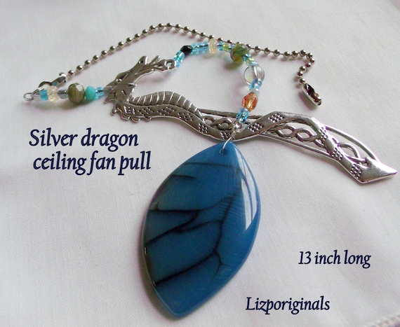 Dragon ceiling fan chain - fantasy home decor - blue agate gem lamp pull - silver dragon gift - beaded light pull - magical decoration