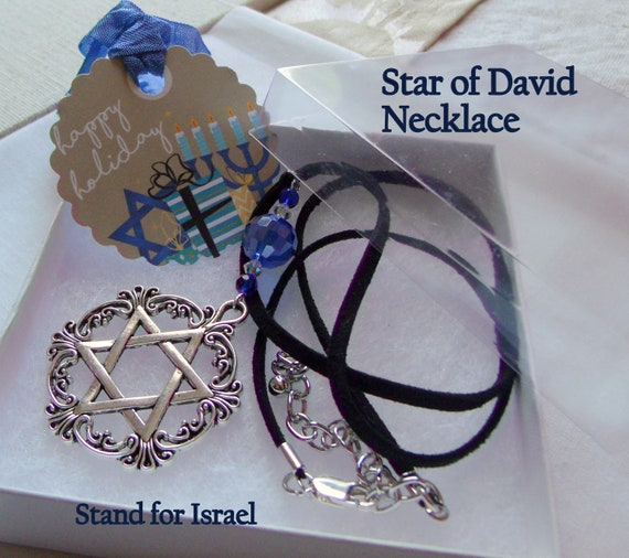 Star of David necklace - Stand for Israel gift - Hanukkah - Jewish holiday token - memento - Holocaust memory gift - Leather blue charm