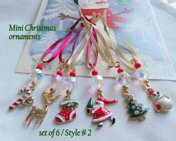Mini crystal charm ornaments - enamel Christmas gifts - red tree hangers - small tree - holiday grab gift - snow bird token - set of 6 gift