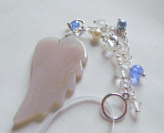Custom baby gift - baby boy/girl - agate angel wing - protect my baby - car charm - nursery decorations - NICU nurse - for new parents