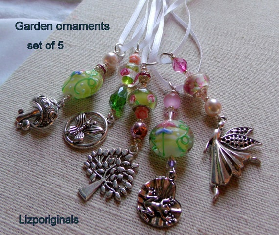Garden ornament gift set - 5 piece pink home accents - green flower beads - tree- fairy - frog - butterfly -mushroom charm - knob decor