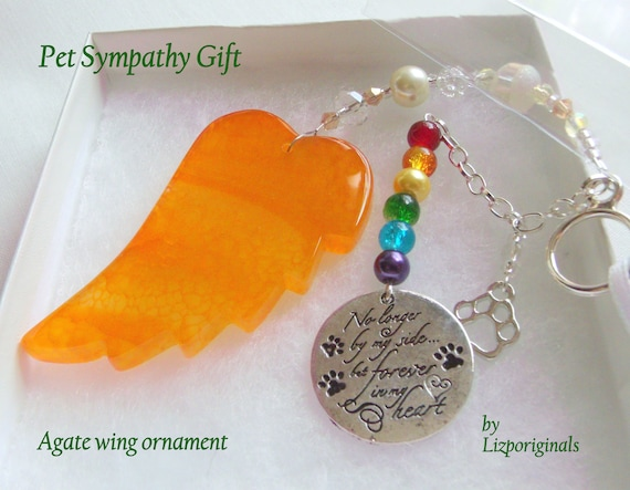 Pet loss gift - yellow angel wing - agate pendant - Dog Sympathy gift - memento - cat memorial - rainbow bridge charm - gift box set