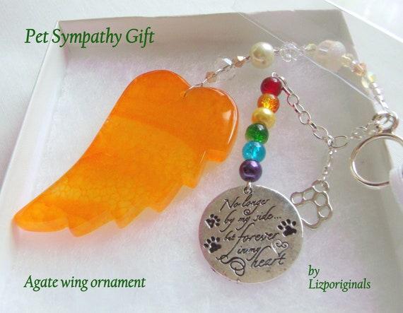 Pet loss gift - yellow angel wing - agate pendant - Dog Sympathy gift - memento - cat memorial - rainbow bridge charm - gift box set