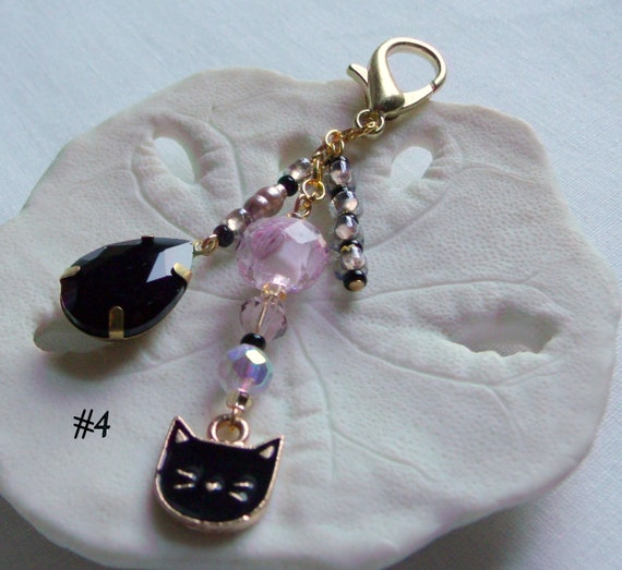 Gold cat zipper pull - tassel purse clip - journal charm for cat lovers - cat club gift - for kitty mommy - black cat gifts - crystal drops