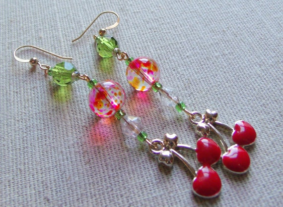 Statement earrings - Cherry charm earrings - gold red glass  - enamel fruit earrings -  2 inch long - dangle cherries  - long cherry earring