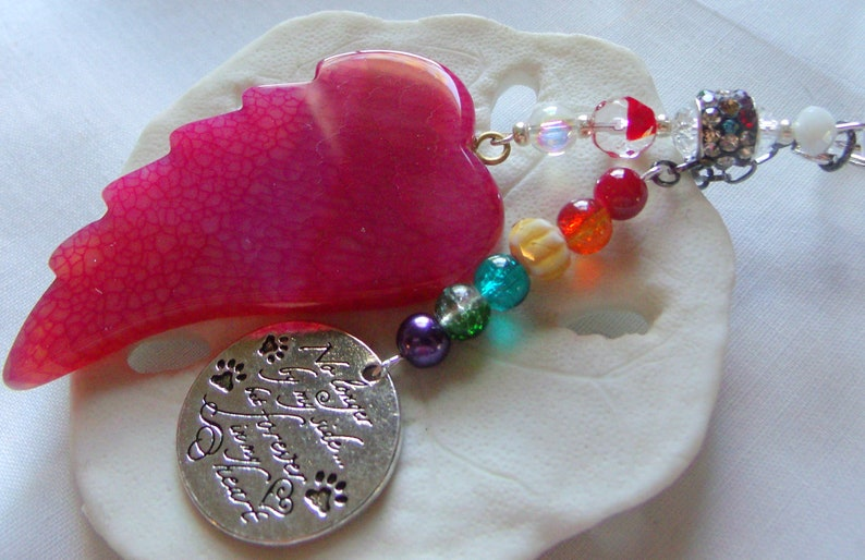 pet sympathy gift dog cat memento memento crimson red agate wing Pet loss gift rainbow bridge charm flame red angel wing