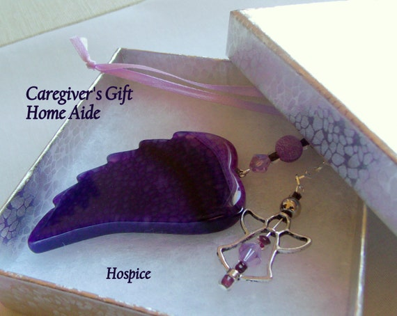 Caregiver's gift - angel wing car charm - support nurse  - hospice -  nursing awareness - Home care aide - Public nurse - forgotten Nurse
