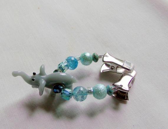 Elephant scarf clip - elephant earrings - silver gift set - glass elephant - aqua purple dangle earrings - India charms - for travelers