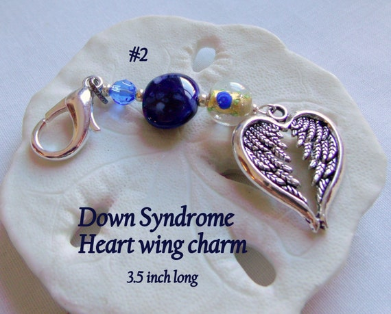 Down syndrome gift - protect my baby charm - pro life - blue wing ornament - nursery gift - awareness - heart zipper pull -  Birth memento