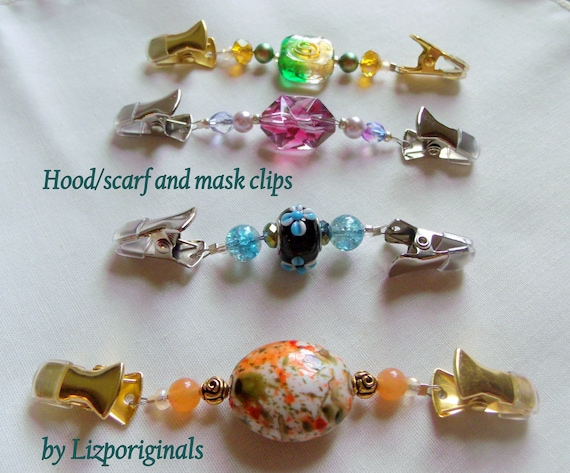 Hood clips - scarf and shawl clip - sweater guard - mini blue clip - coat fastener - duster - hoodie closure -  mask clip - street wear