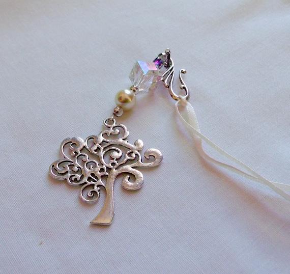 Tree of life sun catcher - crystal ornament - biblical gift - silver tree - pearl beaded window decor - heart car charm - Genesis Tree