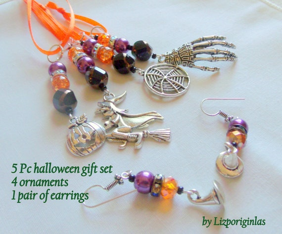 5 pc Halloween gift set - witch ornament - pumpkin charm - skeleton hand - witches hat earrings - orange black purple earrings - spiderweb