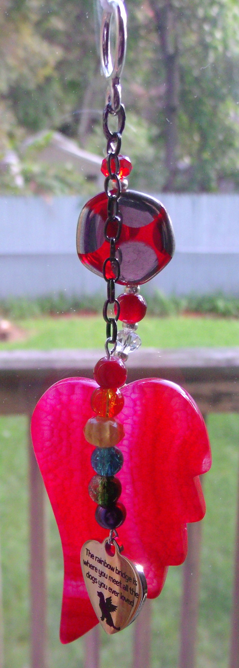 agate pendant Pet sympathy gift bright red ornament dog loss fur baby memento window ornament Pet loss gift angel wing
