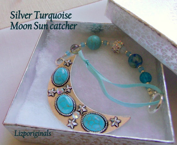 Silver Moon ornament - southwestern window decor - turquoise celestial gift - large aqua moon charm - crescent moon - home wall art