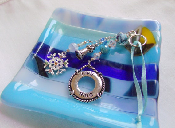 Custom sailboat gift set - Sailing home ornaments - aqua lighthouse charm - life ring - tassel style - nautical token - glass trinket dish
