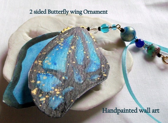 Hand painted butterfly wing ornament - beaded decor - aqua insect wings - wall art - unique gardeners gift - red artistic pendant - Box set