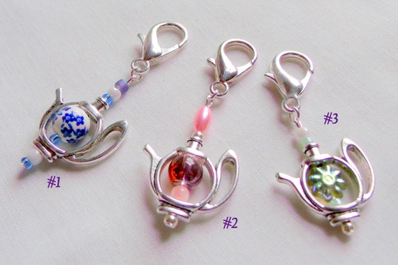 Teapot party favors - garden party for women - blue flower teapot - English high tea - bridal shower gifts - fundraiser - charm zipper pull