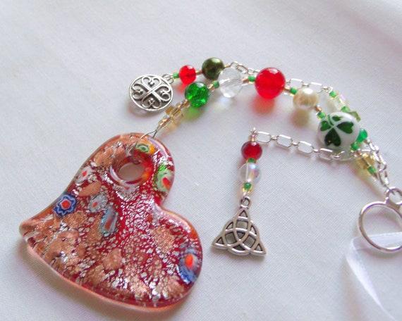 Good luck sun catcher - St Patrick's Day decor - flower glass heart - Celtic knot charm - Irish  shamrock - Boston Irish gift - for car club