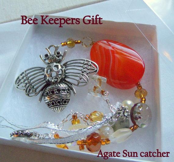 Large bee charm Ornament - orange fire agate sun catcher - gemstone decor - beekeepers gifts - honey bee - gardeners keepsake - window art