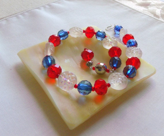 4 Th of July candle rings - Patriotic bling - Red blue garland - for Pillar candles - US army - american mama - summer wine bottle charm